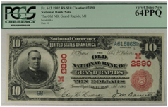 $10 National Bank Note – The Old Grand Rapids National Bank