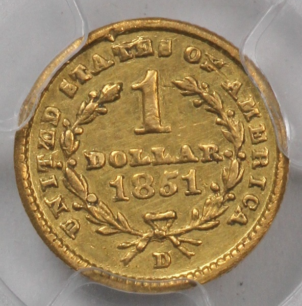 1 Gold 1851 D Liberty Very Tough Dahlonega Mint Pcgs Xf