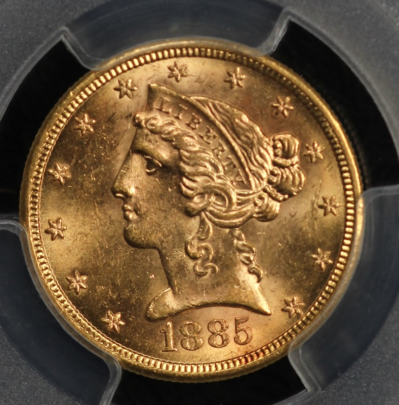1885 S 5 Liberty Gold Pcgs Ms63