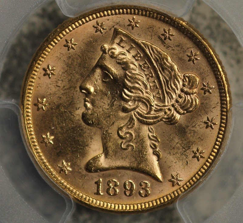 1893 5 Gold Liberty Pcgs Ms63