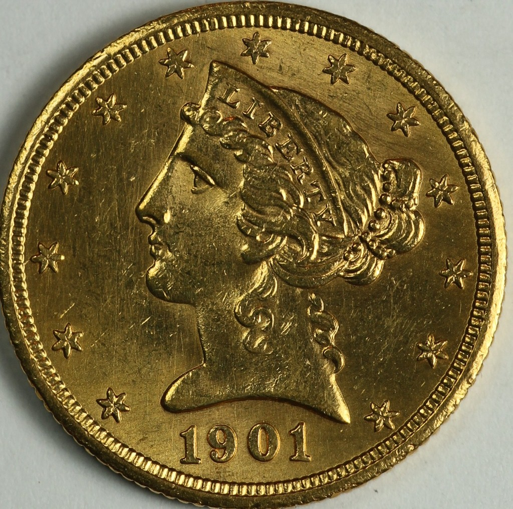 1901 S 5 Gold Liberty