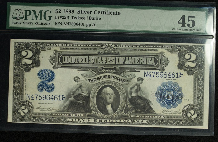 Series of 1899 $2 Silver Certificate PMG 45 Choice Extremely Fine