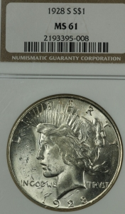 Uncirculated 1928 S Peace Dollar NGC MS61