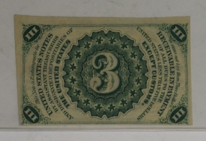 Third Issue 3 Cent Fractional Note FR 1227 Dark Background PCGS 62PPQ