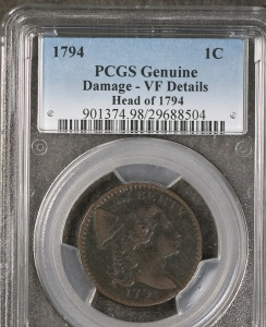 1794 Liberty Capped Large Cent Falling 4 PCGS VF Details