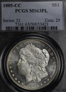 1885-CC Proof Like Morgan Dollar PCGS MS63PL