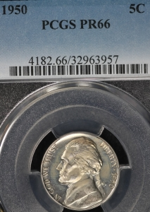 1950 Proof Jefferson Nickel - PCGS PR66