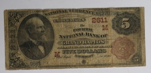 The Fourth National Bank of Grand Rapids $5 Brown Back Good Condition
