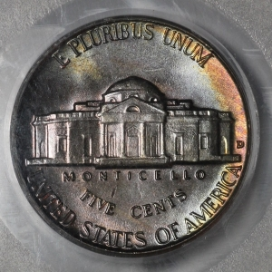 Beautifully Toned 1957 D Jefferson Nickel PCGS MS66