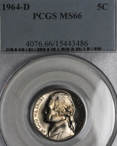 1964 D Jefferson Nickel PCGS MS66