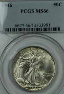 1946 Walking LIberty Half Dollar PCGS MS66