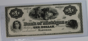 Bank of Michigan Marshall $1 Obsolete Remainder Note GEM UNC