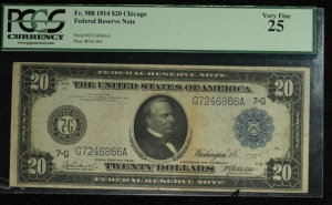 Series of 1914 $20 Federal Reserve Note - Chicago PCGS VF25