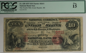$10 Fourth National Bank of Grand Rapids - Series 1875 Note