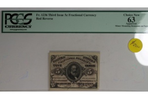 Third Issue 5 Cent Fractional Note FR 1236 Red Reverse PCGS 63 Apparent