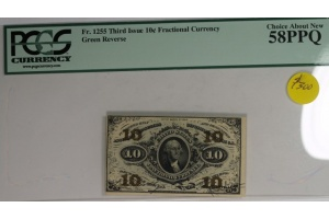 Third Issue 10 Cent Fractional Note FR 1255 Green Reverse PCGS 58PPQ