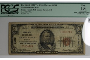 Grand Rapids National Bank $50 Type 1 PCGS F15 Apparent