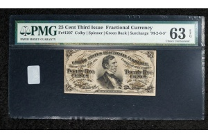 25 Cent Third Issue Fractional Note FR#1297 - PMG 63EPQ