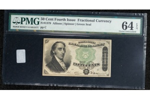 50 Cent Fourth Issue Fractional Note FR#1379 PMG 64EPQ