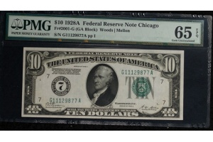 GEM 1928A $10 Federal Reserve Note - FR 2001-G - PMG 65EPQ