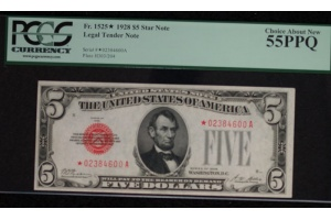 Series 1928 $5 STAR Red Seal United States Note PCGS 55PPQ