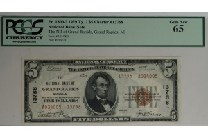 $5 National Bank of Grand Rapids Tpye 2 Note