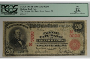 $20 National City Bank of Grand Rapids RED SEAL Note - Series 1902