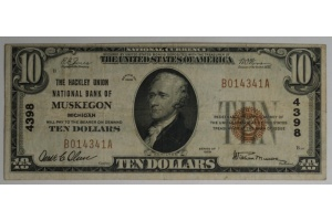 $10 The Hackley Bank of Muskegon - Type 1 Note