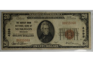 $20 The Hackley Bank of Muskegon - Type 1 Note