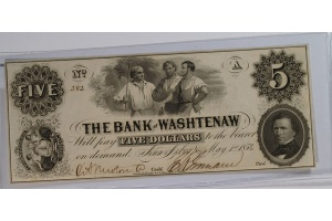 Bank of Washtenaw $5 Obsolete Note Choice UNC