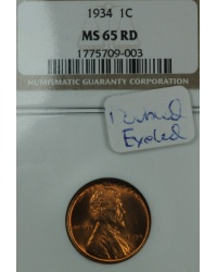 1934 Lincoln Cent NGC MS65RD