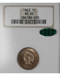 1863 Indian Cent NGC MS65CAC