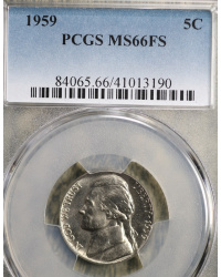 Gorgeous 1959 Jefferson Nickel PCGS MS66!!