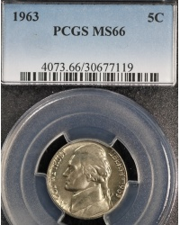 High Grade 1963 Jefferson Nickel - PCGS MS66