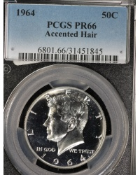 1964 Accented Hair Proof Kennedy Half Dollar - PCGS PR66