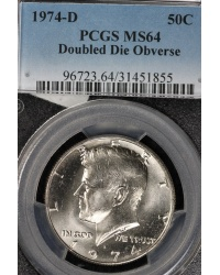 1974-D Doubled Die Kennedy Half Dollar - PCGS MS64