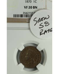 1870 Indian Cent Snow 8 VF20BN NGC