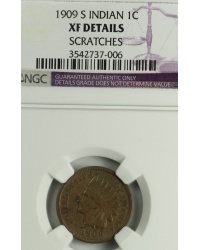 1909 S Indian Cent graded XF Details by NGC