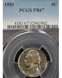GEM++ 1951 Proof Jefferson Nickel - PCGS PR67