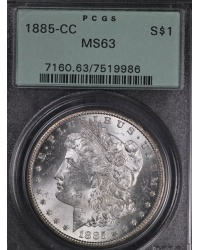1885-CC Morgan Dollar PCGS MS63 Old Green Holder