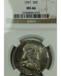 1957 Franklin Half Dollar NGC MS66 Nicely Toned