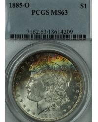 1885 O Morgan Dollar Obverse Rainbow Toning