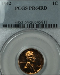 1942 Proof Red Lincoln Cent PCGS PR64RD
