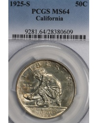 1925-S California Silver Commemorative Half PCGS MS64