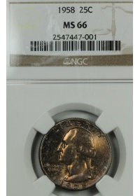 1958 Washington Quarter NGC MS66 Toning
