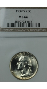1939 S Washington Quarter NGC MS66