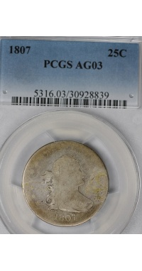 1807 Draped Bust Quarter PCGS AG03